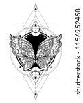 black and white butterfly over... | Shutterstock .eps vector #1156952458