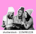 three girls friends taking... | Shutterstock . vector #1156981228