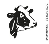 silhouette of a cow head black. | Shutterstock .eps vector #1156984672