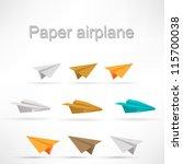 origami airplane set. | Shutterstock .eps vector #115700038