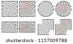 set of labyrinths  mazes... | Shutterstock .eps vector #1157009788