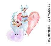 white llama or alpaca  heart.... | Shutterstock . vector #1157020132