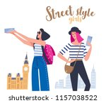 two young women in front of... | Shutterstock .eps vector #1157038522