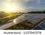 beautiful sunset over solar... | Shutterstock . vector #1157042578