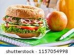ham  cheese and salad sandwich... | Shutterstock . vector #1157054998