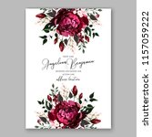 marsala dark red peony wedding... | Shutterstock .eps vector #1157059222