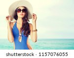 beautiful woman in fashionable... | Shutterstock . vector #1157076055