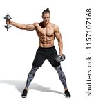 strong man doing exercise with... | Shutterstock . vector #1157107168