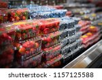 berries selection at grocery... | Shutterstock . vector #1157125588