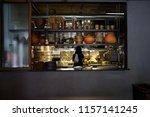 female cooks preparing food in... | Shutterstock . vector #1157141245