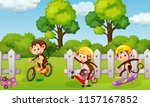 a group of playful monkey... | Shutterstock .eps vector #1157167852
