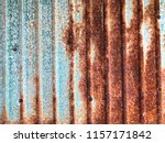 rusty corrugated metal sheet... | Shutterstock . vector #1157171842