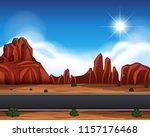 desert road landscape scene... | Shutterstock .eps vector #1157176468