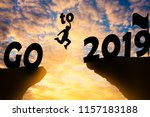 happy new year silhouette...   Shutterstock . vector #1157183188