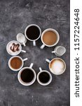 cups of fresh aromatic coffee...   Shutterstock . vector #1157224648