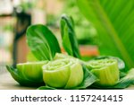 close up of slice or cut green...   Shutterstock . vector #1157241415