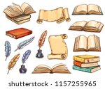 old book and scroll with... | Shutterstock .eps vector #1157255965