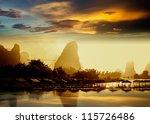 sunset landscpae of yangshuo in ... | Shutterstock . vector #115726486