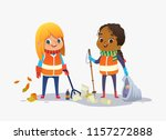 two girls wearing unoform... | Shutterstock . vector #1157272888