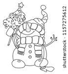 vector happy snowman cartoon ...   Shutterstock .eps vector #1157275612