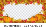 autumn leaves and pumpkins... | Shutterstock .eps vector #1157278735