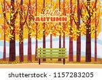 hello autumn  autumn alley ... | Shutterstock .eps vector #1157283205