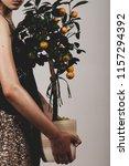 girl holding an orange tree | Shutterstock . vector #1157294392