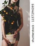 girl holding an orange tree | Shutterstock . vector #1157294395