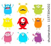cute monster icon set. happy... | Shutterstock . vector #1157304202