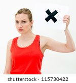 unhappy portrait woman with... | Shutterstock . vector #115730422