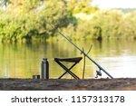 fishing rod  thermos  fishing... | Shutterstock . vector #1157313178