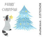 cute raccoon with christmas... | Shutterstock .eps vector #1157325658
