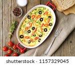 casserole dish  delicious hot... | Shutterstock . vector #1157329045