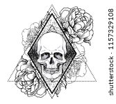 human skull with peony  rose... | Shutterstock .eps vector #1157329108