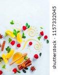honey dipper and honey in a jar ... | Shutterstock . vector #1157332045