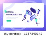 virtual reality communication... | Shutterstock .eps vector #1157340142