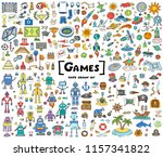 vector set with hand drawn... | Shutterstock .eps vector #1157341822
