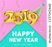 2019 3d happy new year with... | Shutterstock .eps vector #1157342668