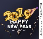 2019 3d happy new year with... | Shutterstock .eps vector #1157343958