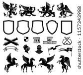 heraldic animals and design... | Shutterstock .eps vector #1157343988