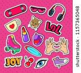 teenager girl fashion badges ... | Shutterstock .eps vector #1157365048