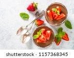 chocolate dessert of whipped... | Shutterstock . vector #1157368345