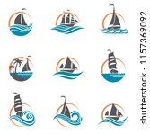 collection of sailboat and... | Shutterstock .eps vector #1157369092
