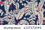 tropical plants seamless... | Shutterstock .eps vector #1157373595