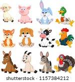 Stock vector farm animal collection set 1157384212