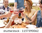 young people with glasses of...   Shutterstock . vector #1157390062