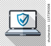 laptop icon in flat style with... | Shutterstock .eps vector #1157390308