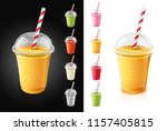 set of plastic transparent cups ... | Shutterstock .eps vector #1157405815