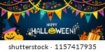 happy halloween. greeting card. ... | Shutterstock .eps vector #1157417935
