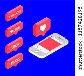 instagram like  isometric icon  ... | Shutterstock .eps vector #1157428195